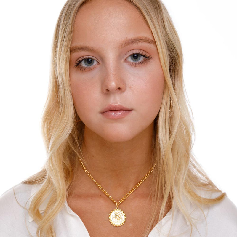 Women's Gold Goddess Ancient Coin Choker Necklace Lifestyle 2