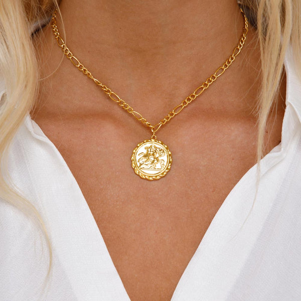 Women's Gold Goddess Ancient Coin Choker Necklace Lifestyle 3