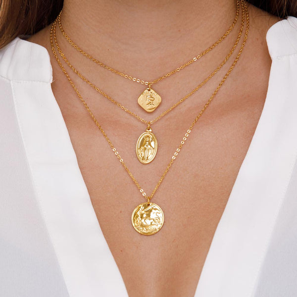 Women's  Layered Ancient Coin Necklace Gold Goddess