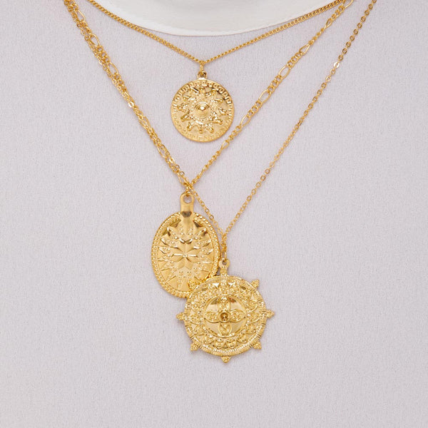 Women's  Layered Medallion Necklace Gold Goddess 4