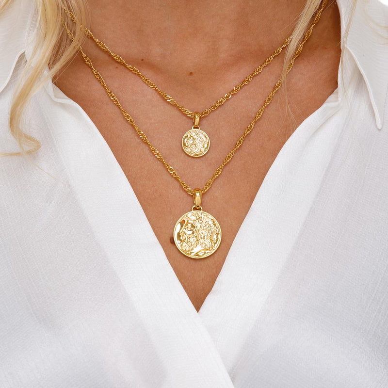 Women's Zeus Ancient Coin Necklace Gold Goddess 4