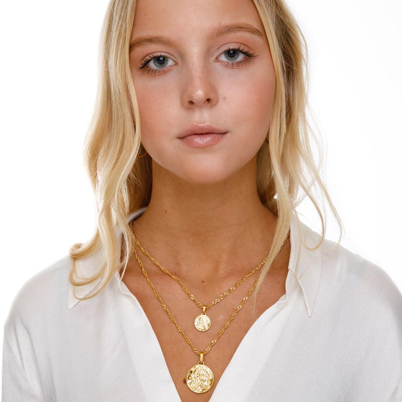 Women's Zeus Ancient Coin Necklace Gold Goddess 3