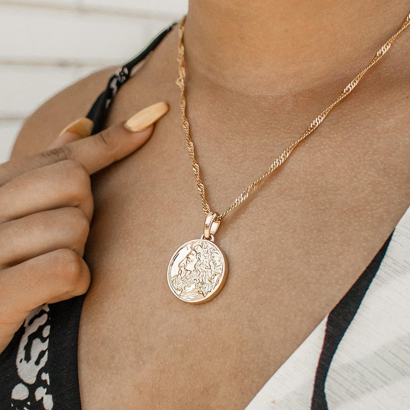 Women's Zeus Ancient Coin Necklace Gold Goddess 5
