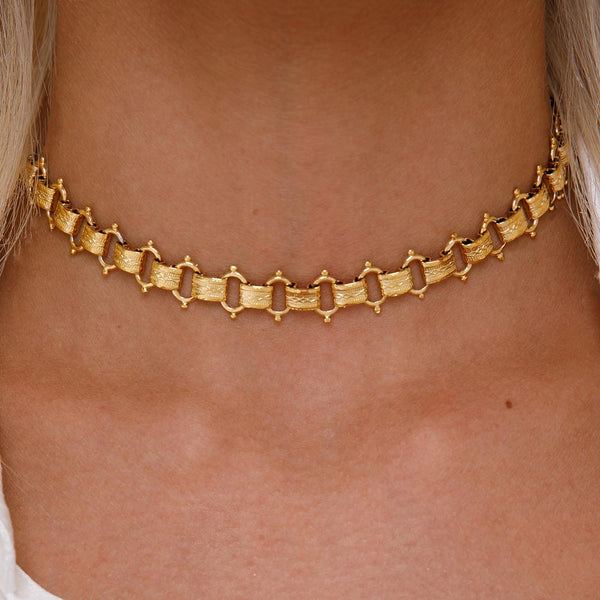 Women's Gold Goddess Athena Choker Necklace Lifestyle