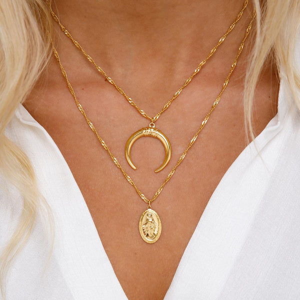 Women's Layered Crescent Virgin Mary Necklace Gold Goddess