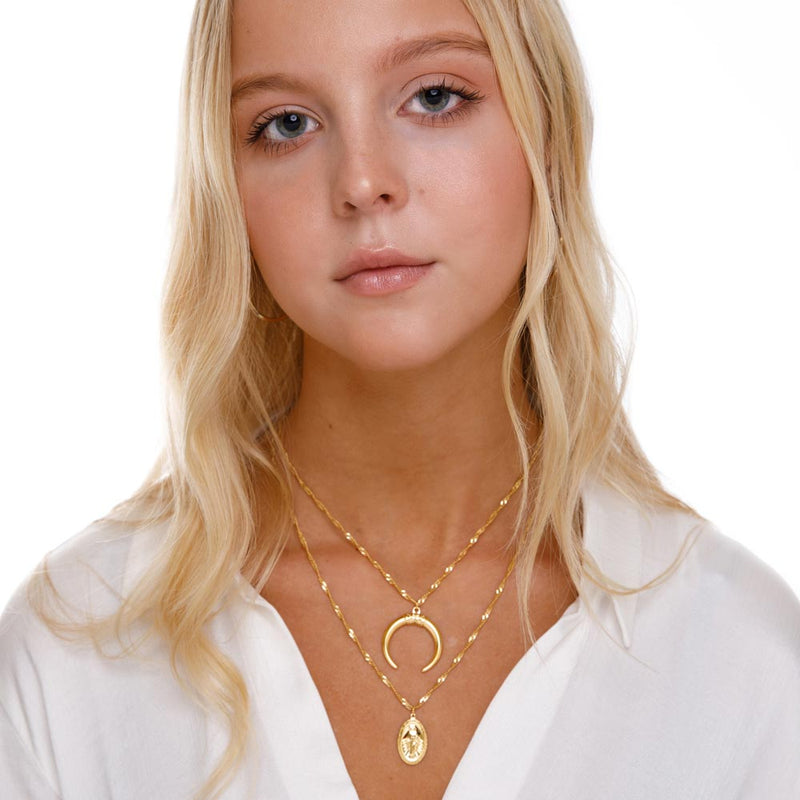 Women's Layered Crescent Virgin Mary Necklace Gold Goddess 2