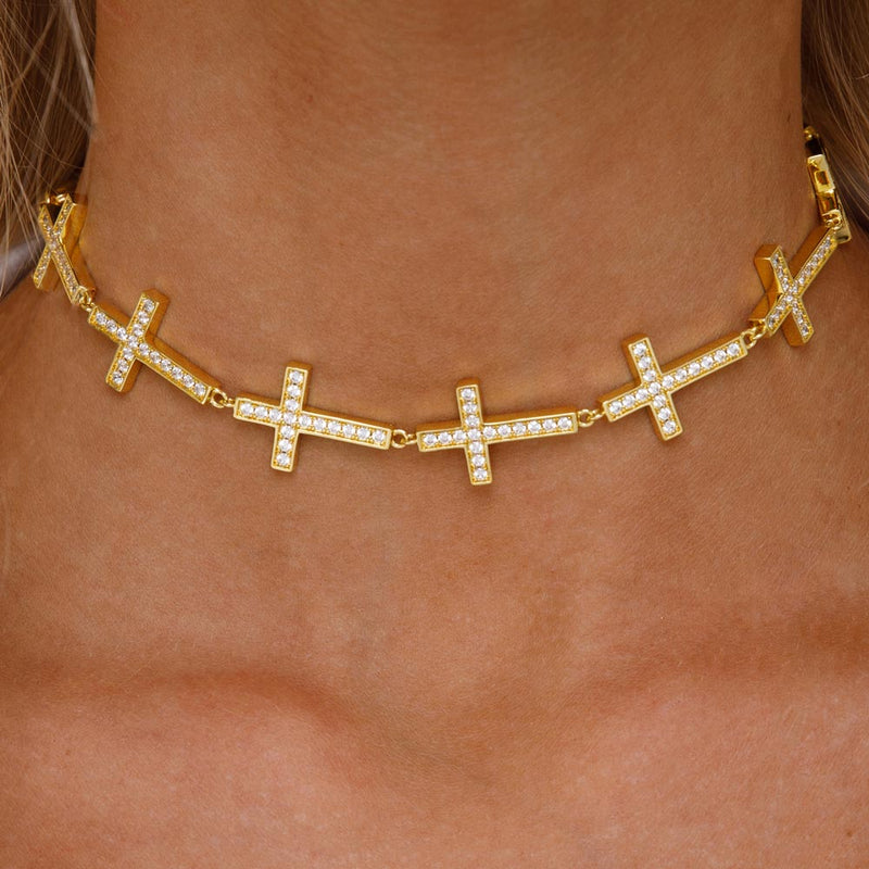 Women's Gold Diamond Cross Choker Necklace Gold Goddess