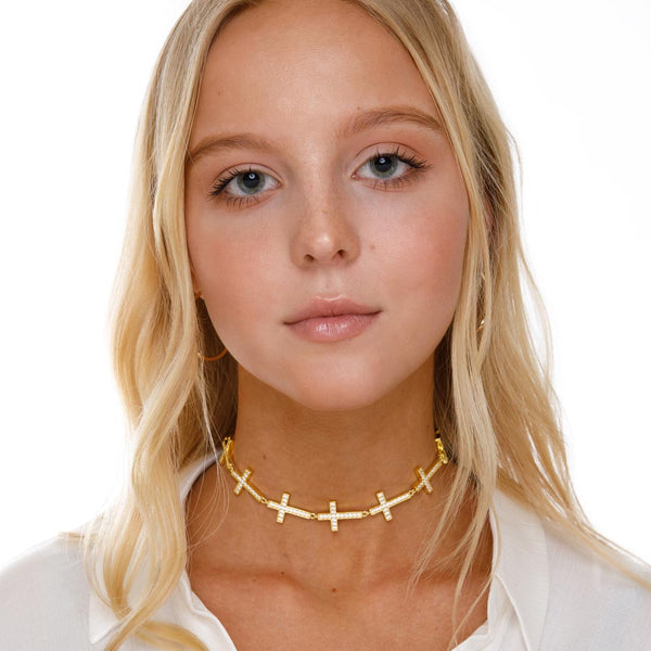 Women's Gold Diamond Cross Choker Necklace Gold Goddess 2