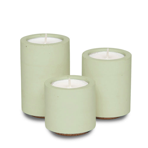 Concrete and Wax Hand Poured Soy Wax candle Trio Tealight Candle Holder Set Sage green