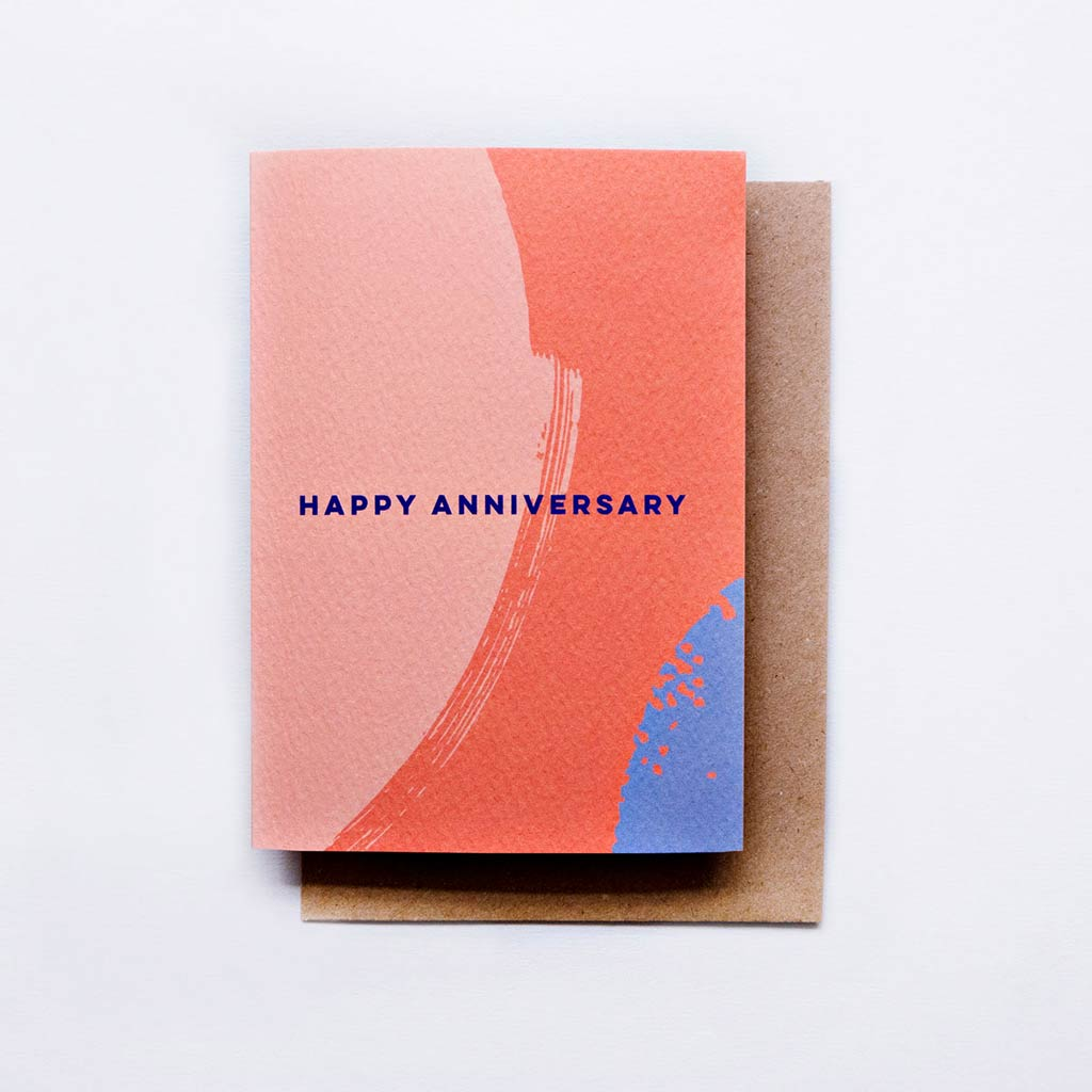 The completist A6 anniversary card bright paint brush print