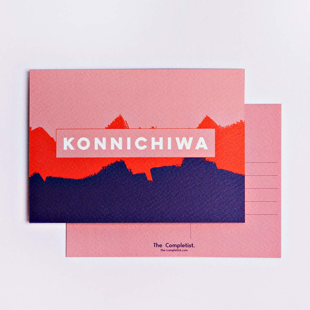 the completist hello postcards pink red navy konnichiwa print