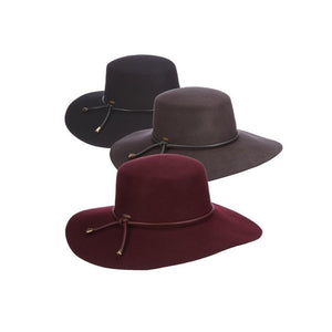 Wine floppy brim felt hat