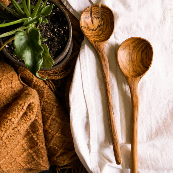Offset Olive Wood Serving Set