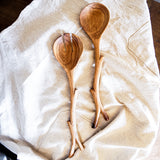 Hand carved branch serving set
