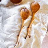 Serving set with wood branch handles