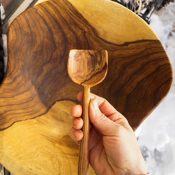 Olive Wood Casserole Shovel Spoon