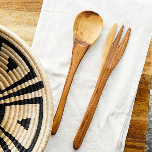 Simple Olive Wood Serving Utensils Set