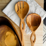Geometric Large Olive Wood Serving Utensils Set