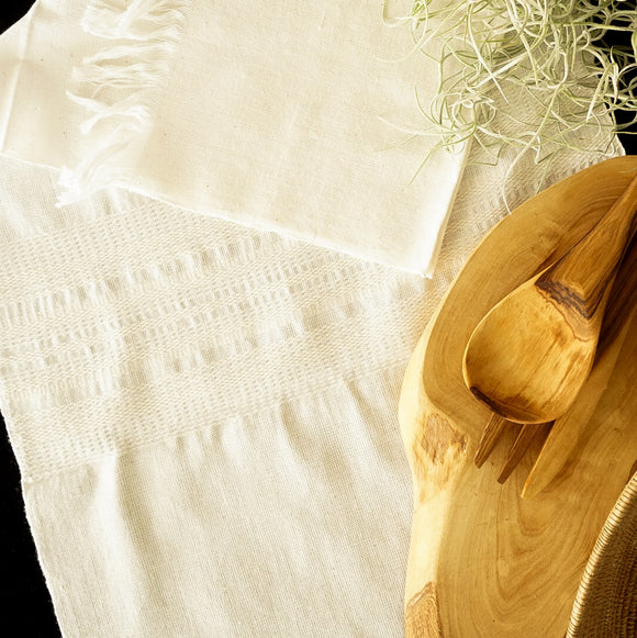 Natural Cotton Stripe Woven Table Runner