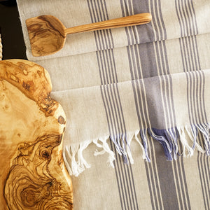 Wheat Table Runner with Blue Stripes