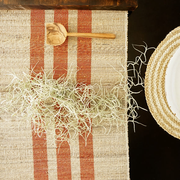 Natural Jute Table Runner with Red Stripes