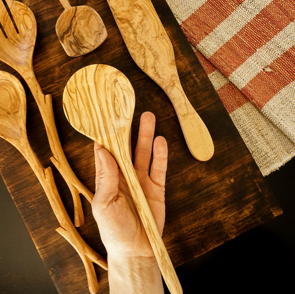 Shallow Olive Wood Round Spoon