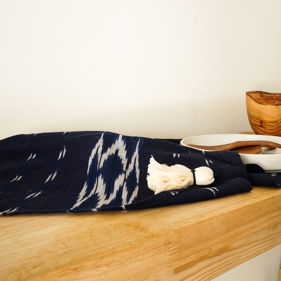 Navy Woven Table Runner with Tassels