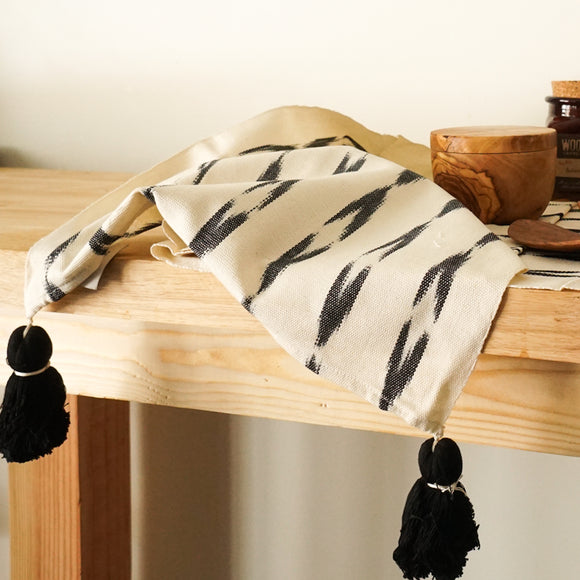 White Woven Table Runner with Black Tassels