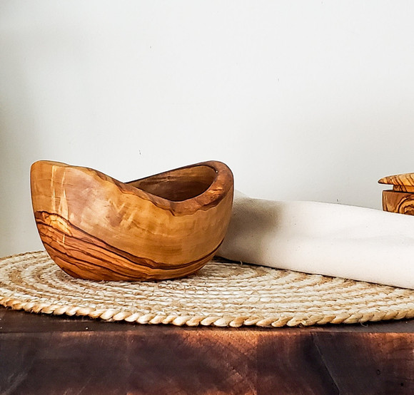 Rustic Tunisian Olive Wood Snack Bowl