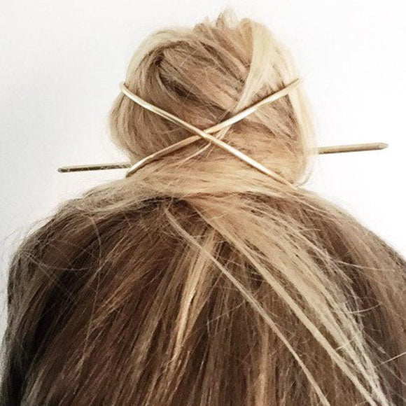Minimal Wire Bun Cuff with Hair Stick