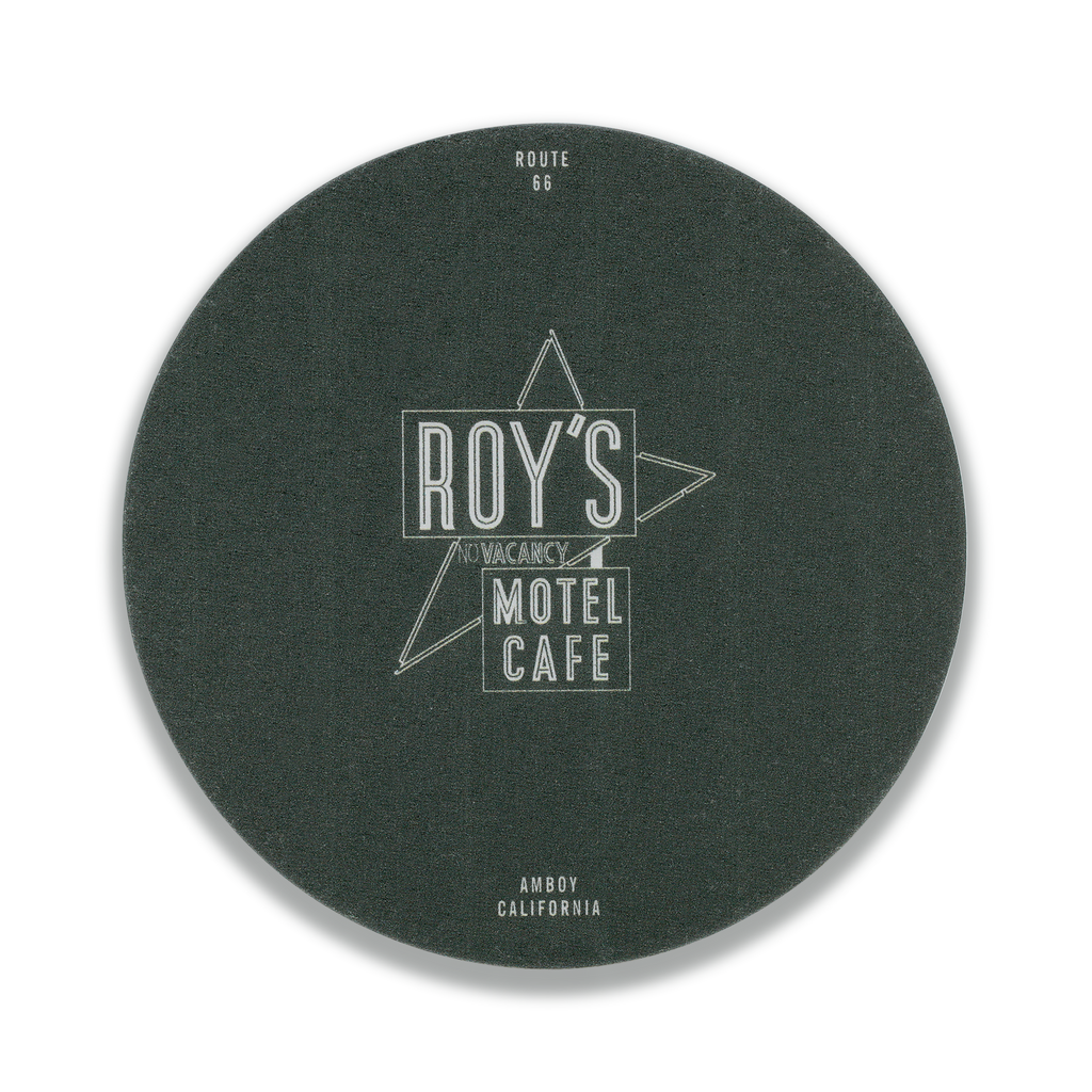Roy's Famous Sign Round Blackout Bar Coaster