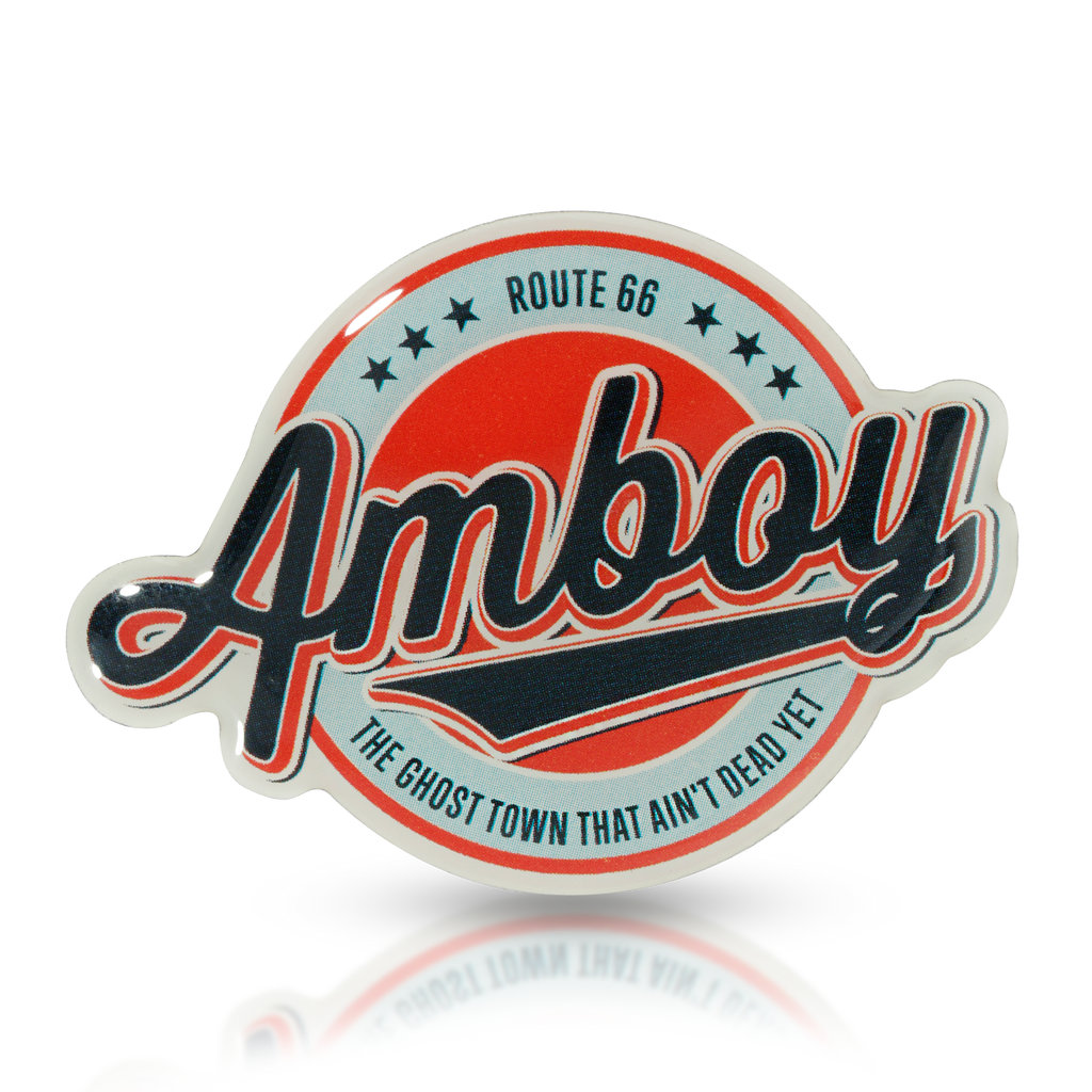 Blue and Red Amboy Logo Cutout Metal Pin