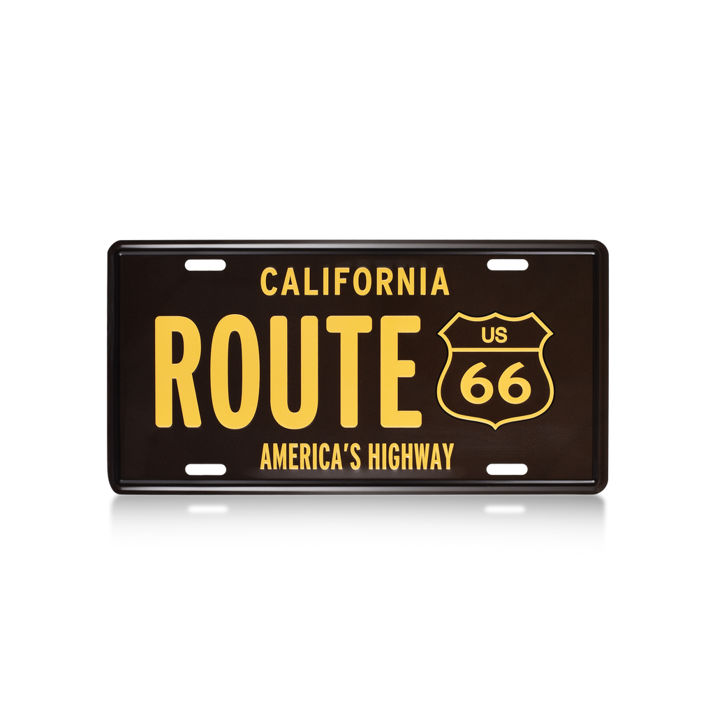 Black California Route 66 License Plate  Wall Decoration