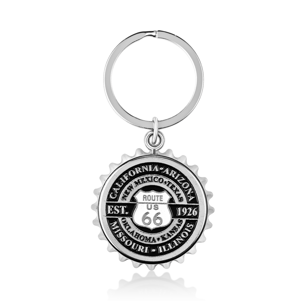 Route 66 Bottle Cap Keychain & Bottle Opener