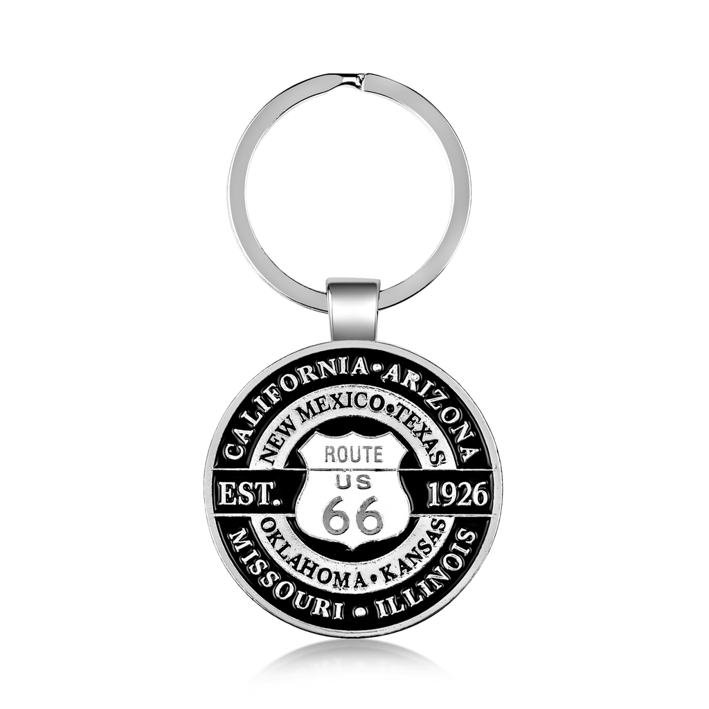 Eight States Route 66 Shield Double Sided Keychain