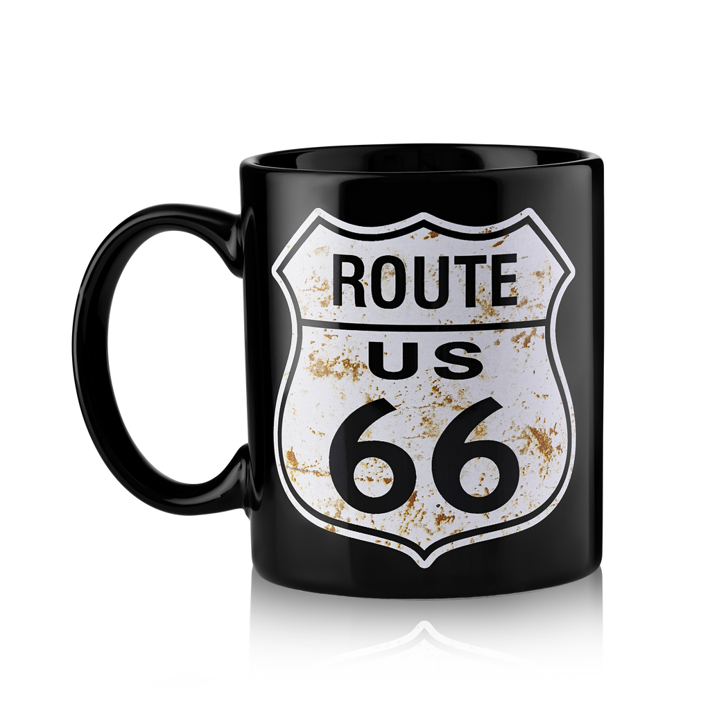 Distressed Route 66 Metal Shield Black Mug