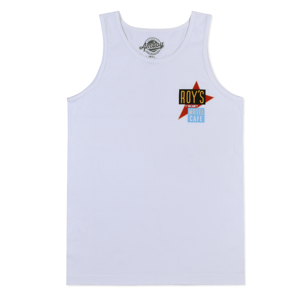 Roy's Motel Cafe Chest Print White Tank Top