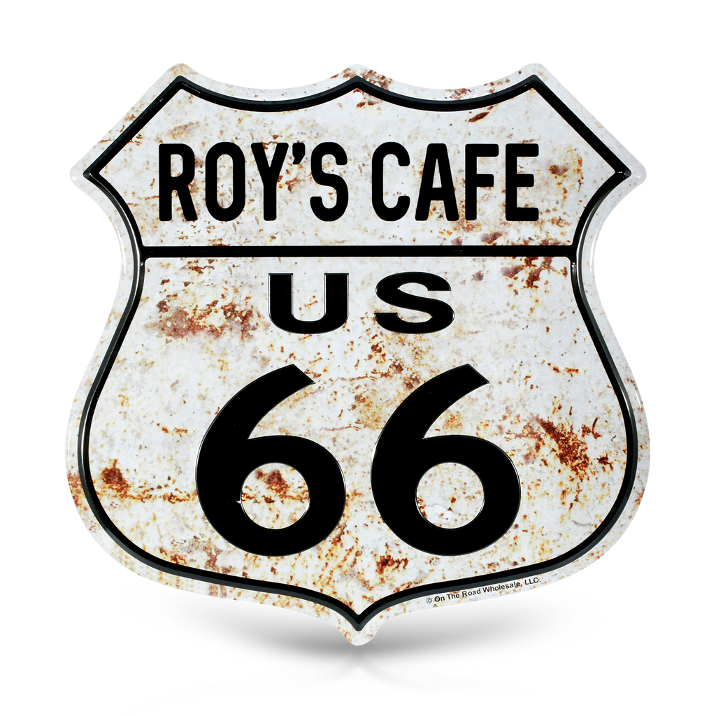 Distressed Roy's Cafe Route 66 Metal Shield Wall Decor