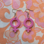 Load image into Gallery viewer, Gender Symbol Hook Earrings - Pastel Pink