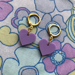 Load image into Gallery viewer, Heart Huggie Hoops - Lilac