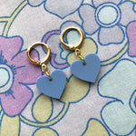 Load image into Gallery viewer, Heart Huggie Hoops - Blue