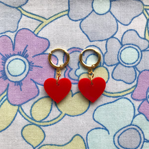 Heart Huggie Hoops - Red
