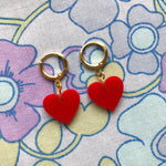 Load image into Gallery viewer, Heart Huggie Hoops - Red