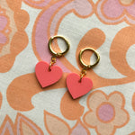 Load image into Gallery viewer, Heart Huggie Hoops - Coral