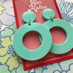 Load image into Gallery viewer, Circle Stud Hoops - Turquoise