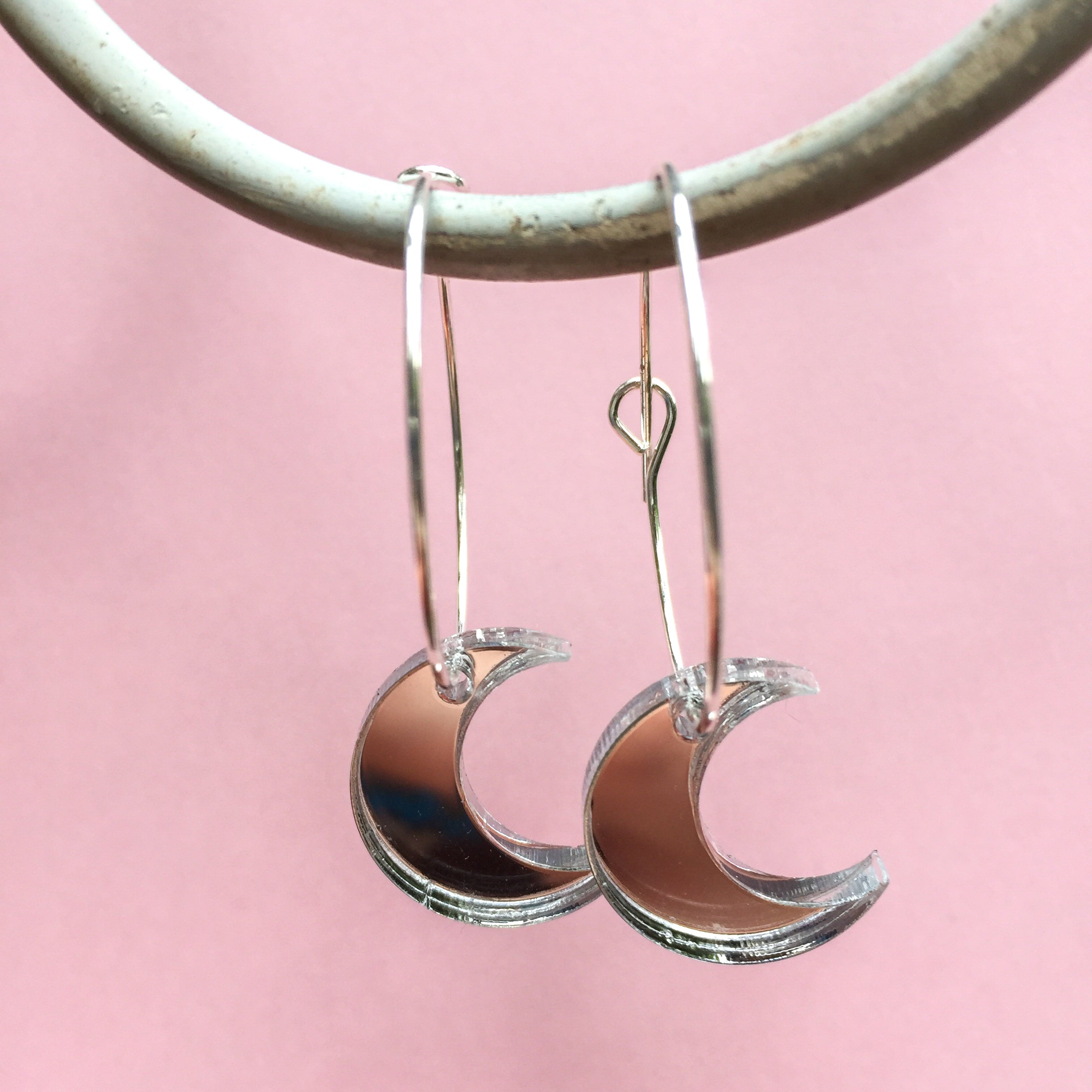 Mirror Moon and Star Hoops