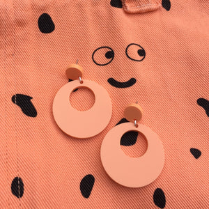 Mod Inspired Stud Hoop Earrings - Pastel Orange