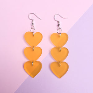 Three Tier Heart Hooks - Frosted Yellow