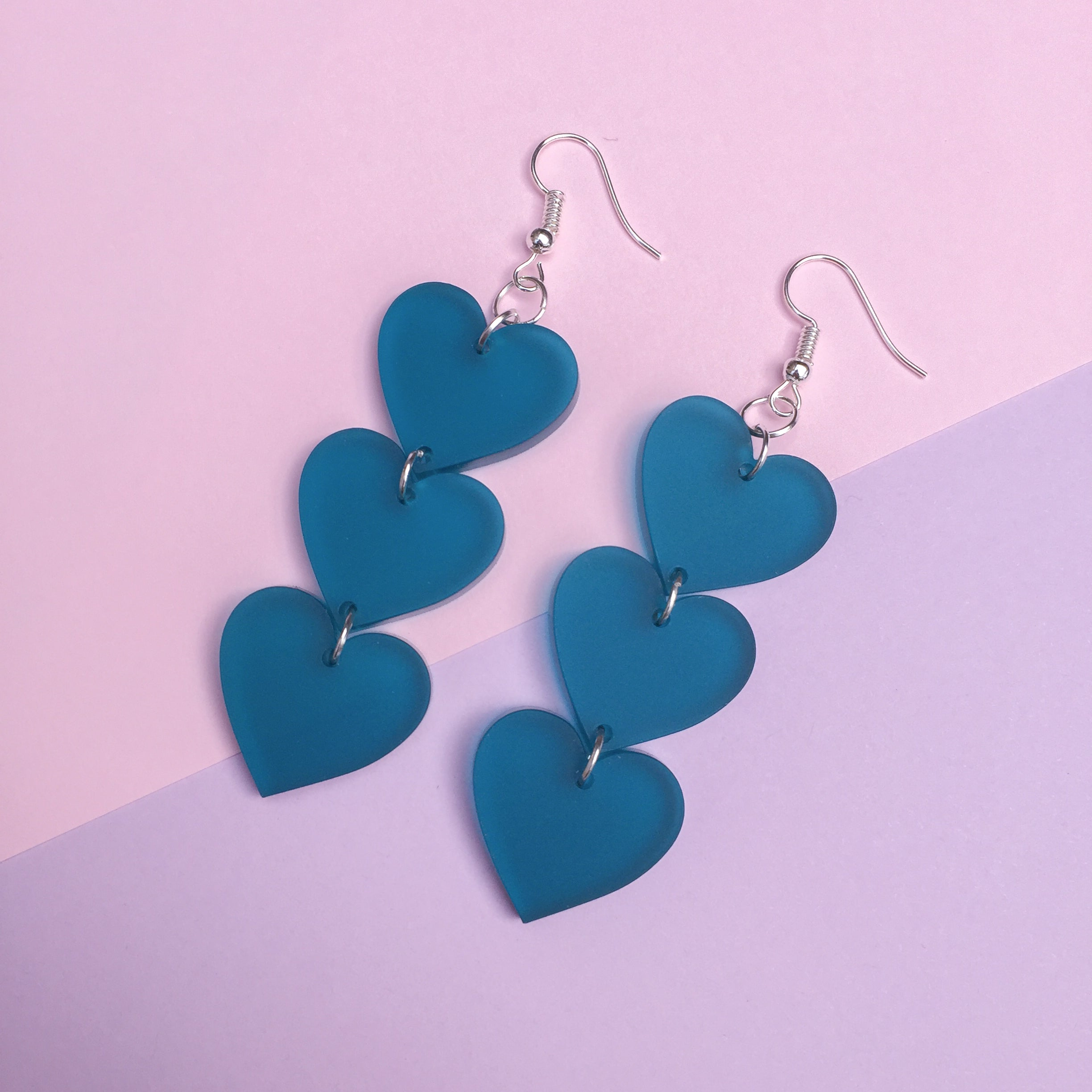 Three Tier Heart Hooks - Frosted Blue