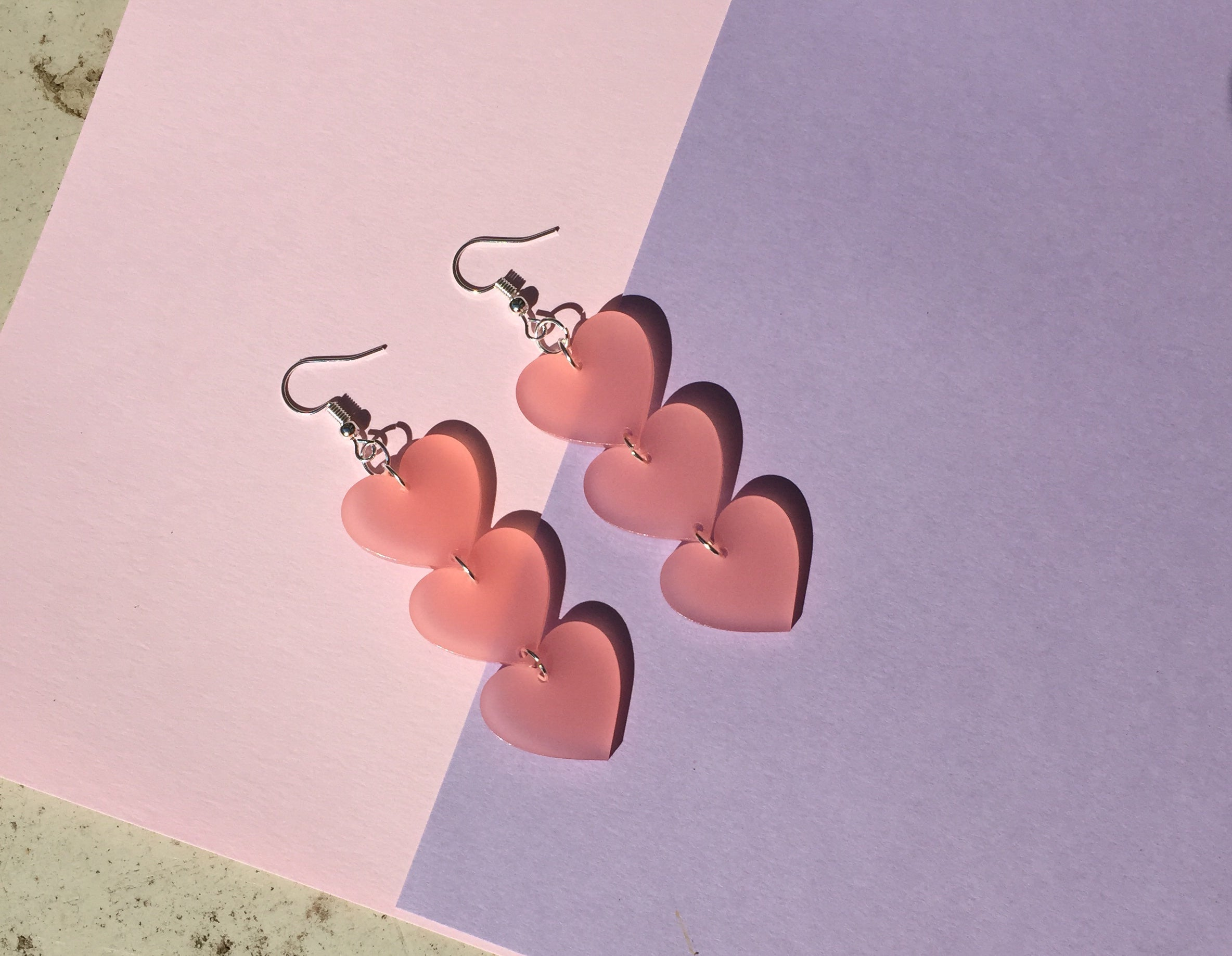 Three Tier Heart Hooks - Frosted Pink